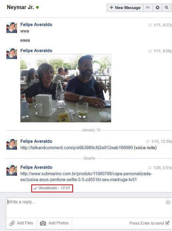 Print da conversa entre o jovem Felipe e o jogador Neymar Jr.