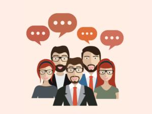 Ilustração com clientes conversando.